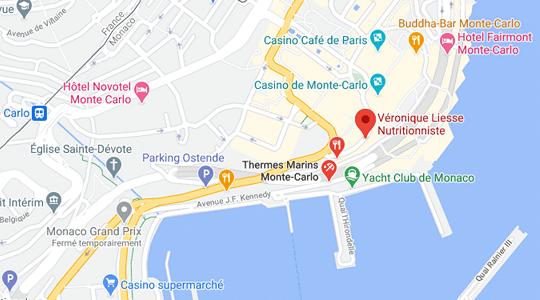Plan Thermes Marins Monte Carlo de Monaco pour se rendre aux Consultations en Nutrition de Véronique Liesse
